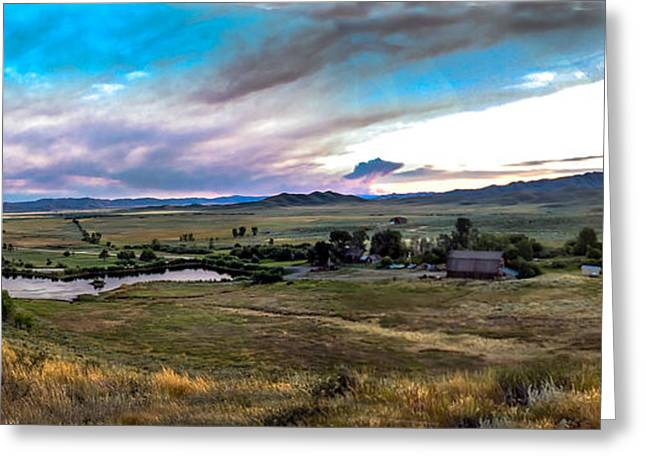 Haybale Greeting Cards - Panoramic of Solider Ranch Greeting Card by Robert Bales