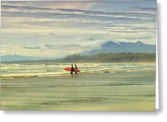 Attract Greeting Cards - Panoramic Of Surfers On Long Beach, Bc Greeting Card by Will Datene