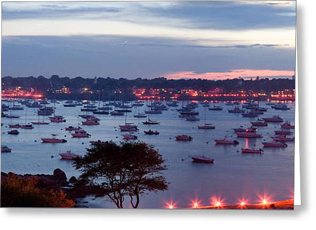 Folgers Greeting Cards - Panoramic of the Marblehead Illumination Greeting Card by Jeff Folger
