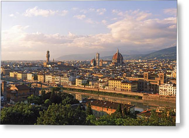 Michelangelo Photographs Greeting Cards - Panoramic Overview Of Florence Greeting Card by Panoramic Images