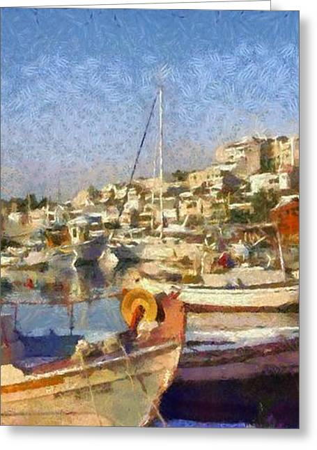European Greeting Cards - Panoramic painting of Mikrolimano port Greeting Card by George Atsametakis