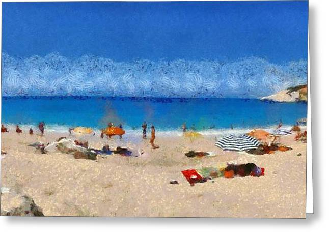 Panoramic painting of Porto Katsiki beach Greeting Card by George Atsametakis