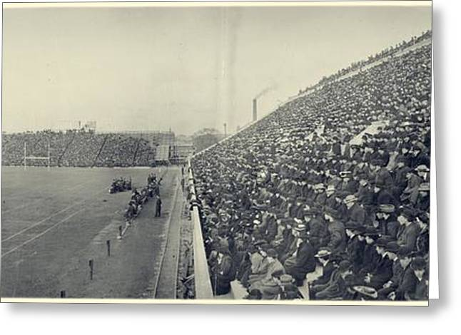Football Photographs Greeting Cards - Panoramic photo of Harvard  Dartmouth football game Greeting Card by E Chickerin