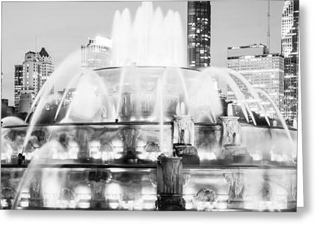 Chicago Prints Greeting Cards - Panoramic Picture of Chicago Buckingham Fountain  Greeting Card by Paul Velgos
