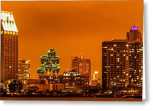 Print Photographs Greeting Cards - Panoramic Picture of San Diego Skyline at Night Greeting Card by Paul Velgos
