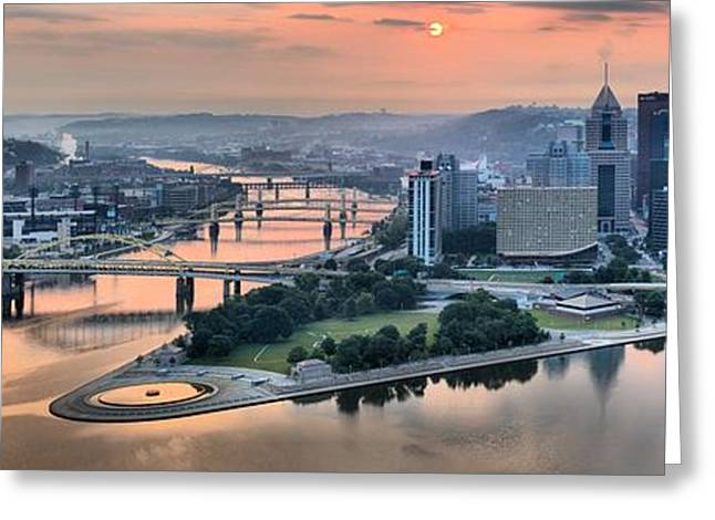 Incline Greeting Cards - Panoramic Pitsburgh Pink Skies Greeting Card by Adam Jewell