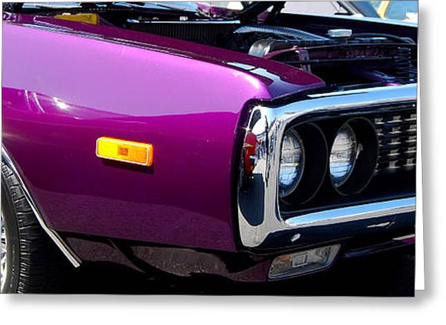 Mopar Collector Greeting Cards - panoramic purple Charger Greeting Card by Mark Spearman