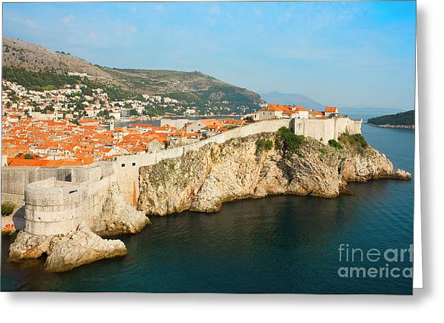Old City Tower Greeting Cards - Panoramic sea view of old Dubrovnik with the bay and the city wa Greeting Card by Kiril Stanchev