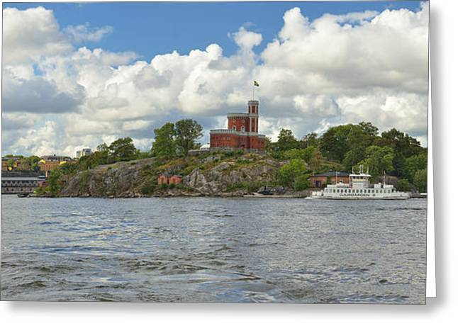 Buildings In The Harbor Greeting Cards - Panoramic seascape with castle Stockholm Sweden Greeting Card by Marianne Campolongo