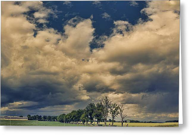 Nature Pyrography Greeting Cards - Panoramic Storm Clouds Over Norway Greeting Card by Angela A Stanton