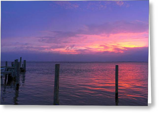 York Beach Greeting Cards - Panoramic Sunset 7/1/13 Greeting Card by SWAMP Online