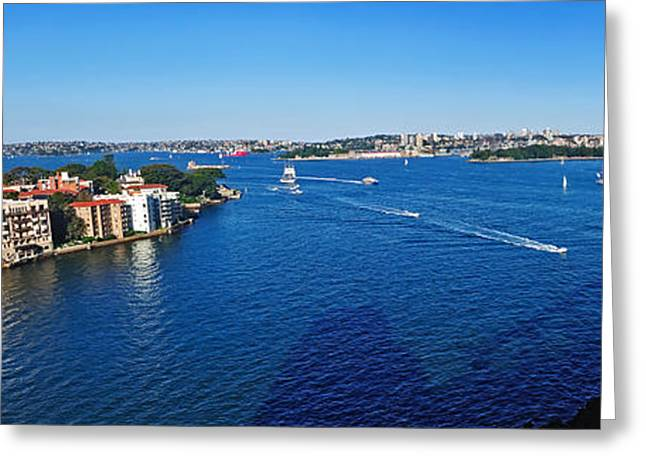 Boats On Water Greeting Cards - Panoramic Sydney Harbour Greeting Card by Kaye Menner