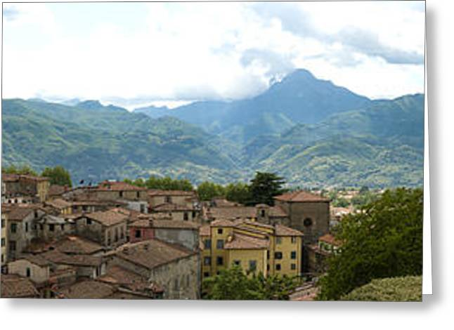 Hill Town Greeting Cards - Panoramic view Barga and apennines Italy Greeting Card by Peter Noyce