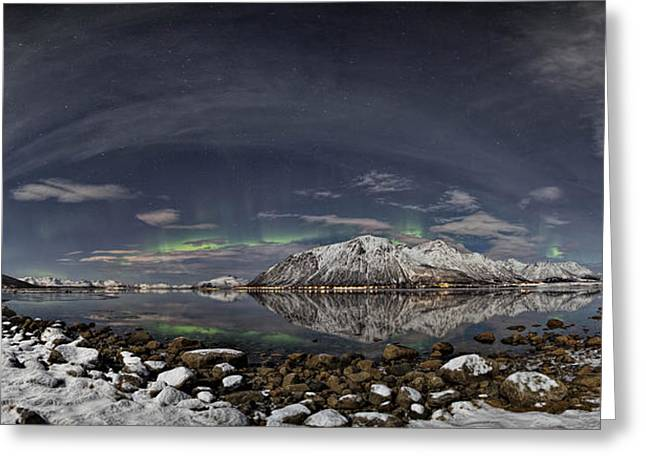 Norway Beach Greeting Cards - Panoramic view Greeting Card by Frank Olsen