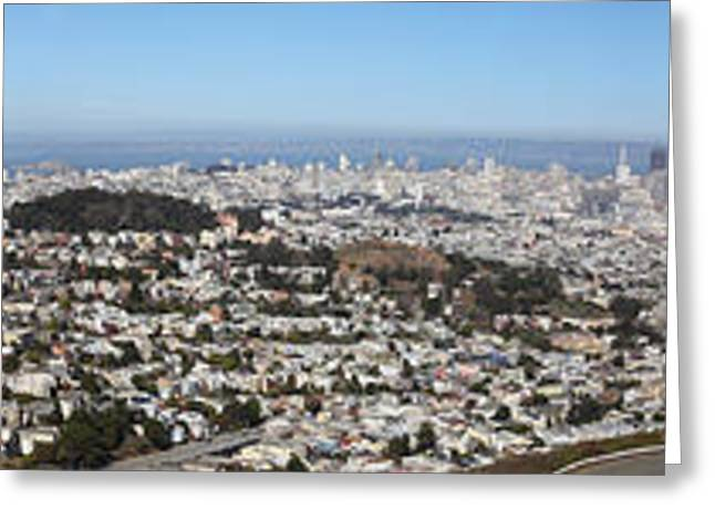 Sf Peaks Greeting Cards - Panoramic View From San Francisco California Twin Peaks 20140223 Greeting Card by Wingsdomain Art and Photography