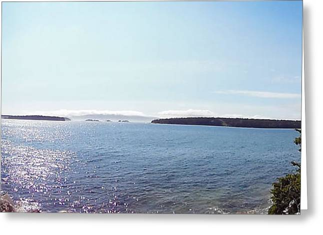 Foggy Ocean Greeting Cards - Panoramic View Greeting Card by Helene Guertin