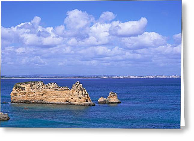 Algarve Greeting Cards - Panoramic View Of A Coastline, Southern Greeting Card by Panoramic Images