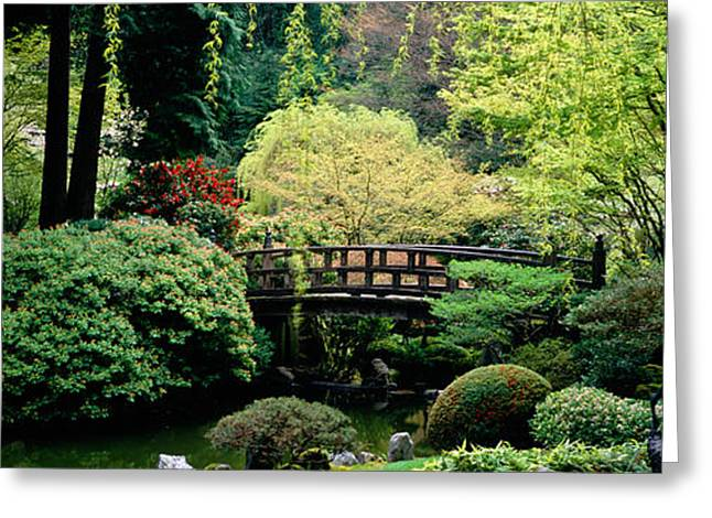 Garden Scene Greeting Cards - Panoramic View Of A Garden, Japanese Greeting Card by Panoramic Images