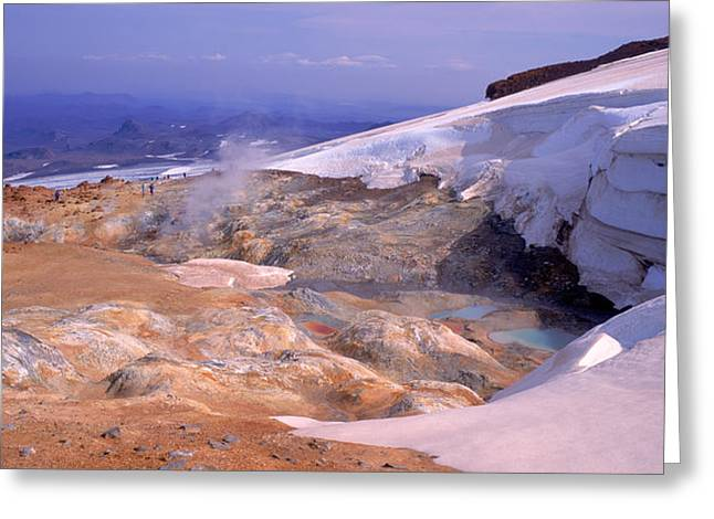 Geothermal Greeting Cards - Panoramic View Of A Geothermal Area Greeting Card by Panoramic Images
