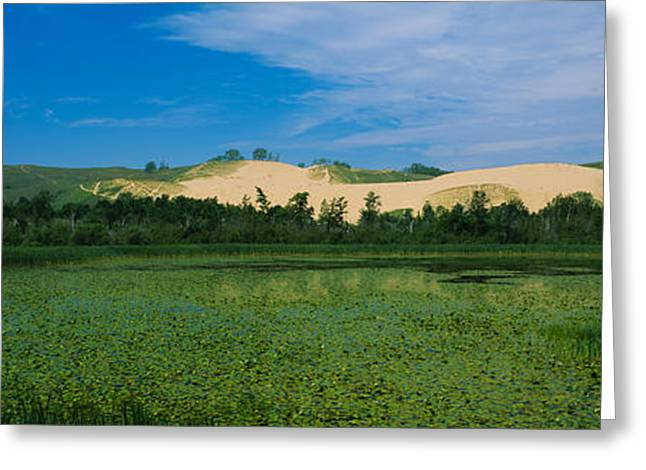 Desert Lake Greeting Cards - Panoramic View Of A Lake, Sleeping Bear Greeting Card by Panoramic Images