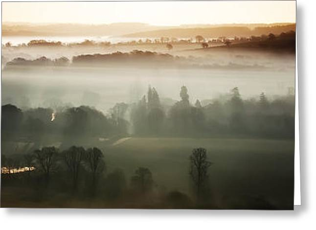 Peaceful Scenery Greeting Cards - Panoramic view of a misty morning Greeting Card by Simon Bratt Photography LRPS