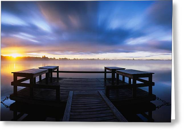 Reflections In River Greeting Cards - Panoramic View Of A Pier At Dusk Greeting Card by Panoramic Images