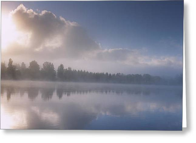 Panoramic View Of A River At Dawn Greeting Card by Panoramic Images