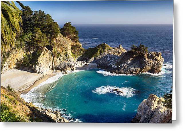 Big Sur California Greeting Cards - Panoramic View of a Small Cove with a Waterfall Greeting Card by George Oze