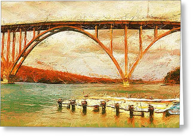 Indy Car Greeting Cards - Panoramic view of bridge in Cuba Greeting Card by Odon Czintos
