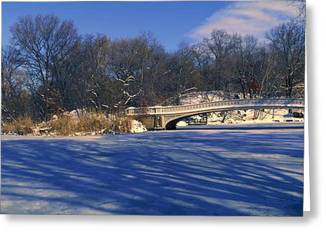 Panoramic View Of Bridge Over Frozen Greeting Card by Panoramic Images