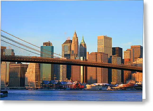 9-11 Greeting Cards - Panoramic View Of Brooklyn Bridge Greeting Card by Panoramic Images