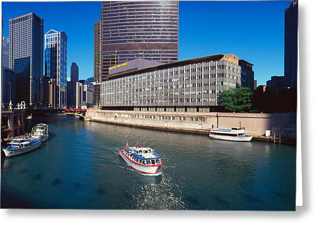 Body Of Water Greeting Cards - Panoramic View Of Chicago River Greeting Card by Panoramic Images