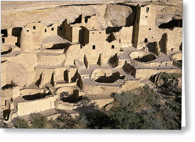 Cliff Dwellings Greeting Cards - Panoramic View Of Cliff Palace Cliff Greeting Card by Panoramic Images