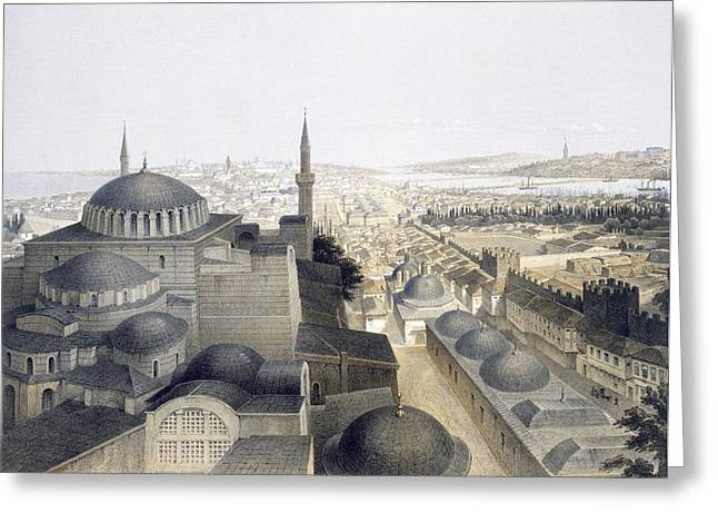Hagia Sophia Greeting Cards - Panoramic View Of Constantinople Greeting Card by Gaspard Fossati