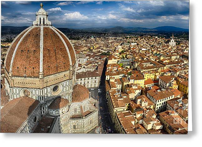 Red Tile Roof Greeting Cards - Panoramic View of  Florence with the Duomo Greeting Card by George Oze