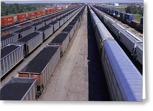 Coal Mining Greeting Cards - Panoramic View Of Freight Cars At Union Greeting Card by Panoramic Images