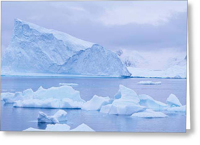 Frozen Water Greeting Cards - Panoramic View Of Glaciers And Icebergs Greeting Card by Panoramic Images