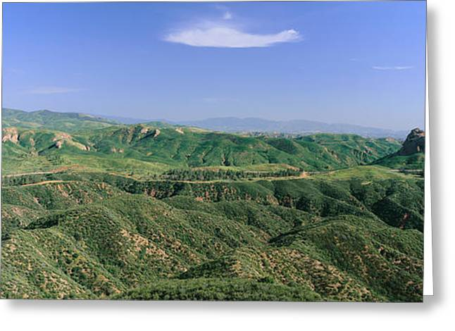 Rural Landscapes Greeting Cards - Panoramic View Of Green Rolling Hills Greeting Card by Panoramic Images