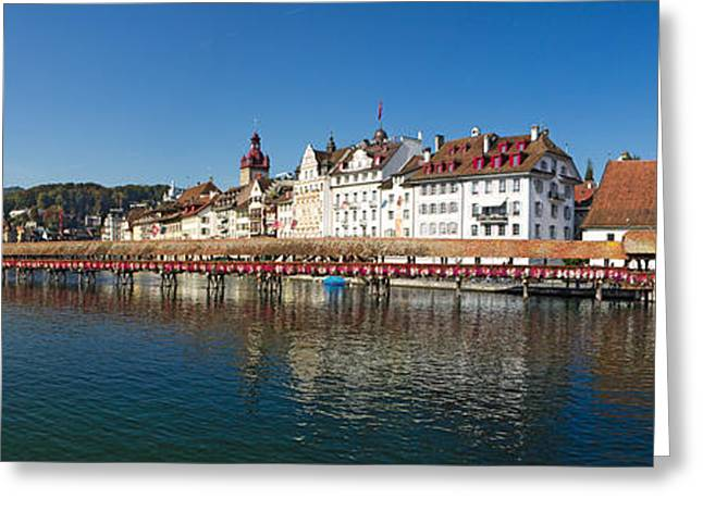 Swans... Greeting Cards - Panoramic View of Historic Lucerne Greeting Card by George Oze