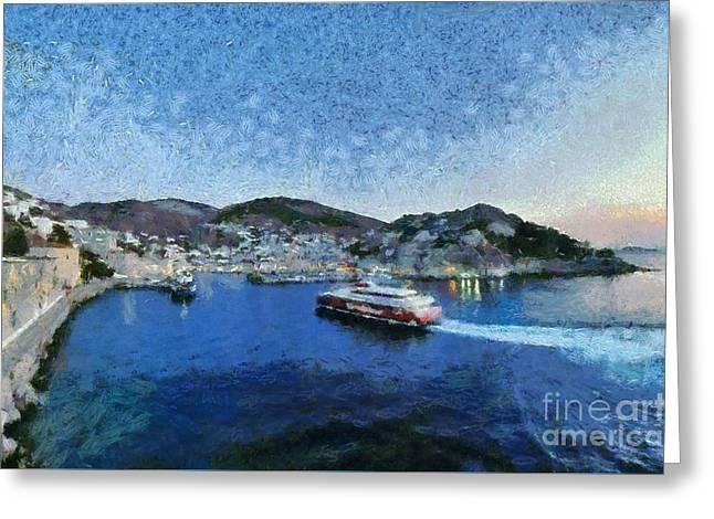 Panoramic View Of Hydra Town Greeting Card by George Atsametakis
