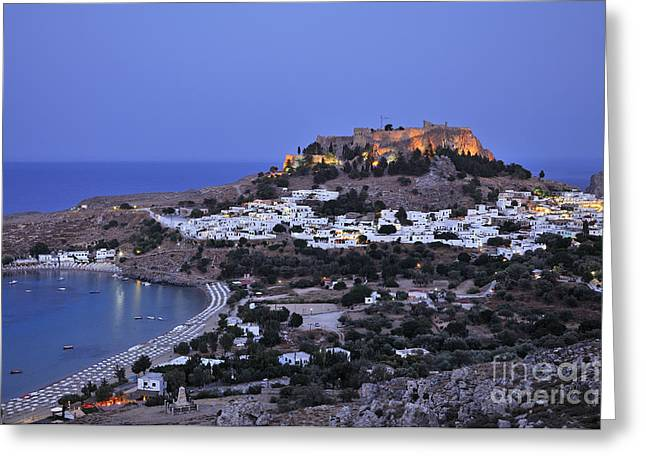 Dodekanissos Greeting Cards - Panoramic view of Lindos Greeting Card by George Atsametakis