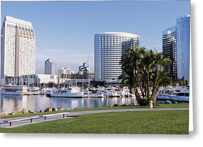 Sailboat Images Greeting Cards - Panoramic View Of Marina Park And City Greeting Card by Panoramic Images