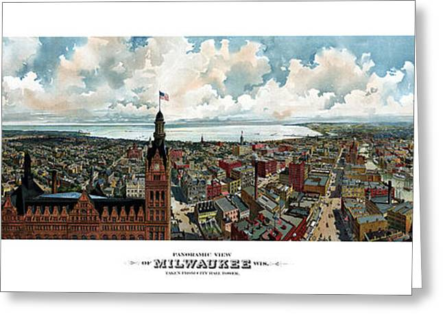 Milwaukee Greeting Cards - Panoramic View Of Milwaukee Wisconsin Greeting Card by War Is Hell Store