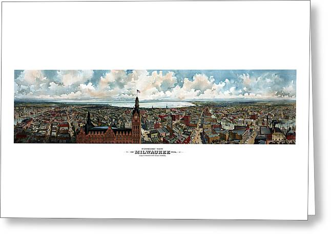Hall Greeting Cards - Panoramic View Of Milwaukee Wisconsin Greeting Card by War Is Hell Store