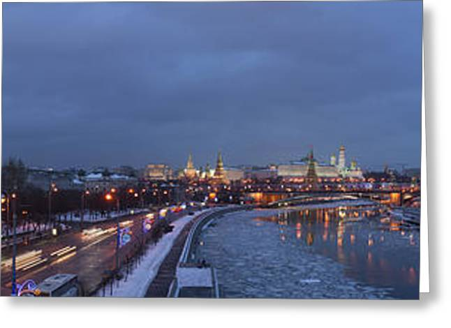 Variety Photos Greeting Cards - Panoramic View Of Moscow River And Kremlin - Featured 2 Greeting Card by Alexander Senin