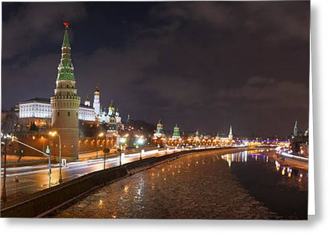 Winter Night Greeting Cards - Panoramic view of Moscow river and Moscow Kremlin embankment Greeting Card by Alexander Senin