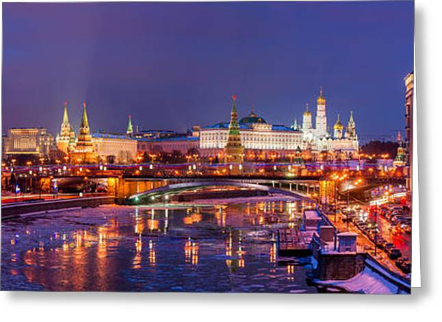 Winter Night Greeting Cards - Panoramic View Of Moscow River And Moscow Kremlin  - Featured 3 Greeting Card by Alexander Senin