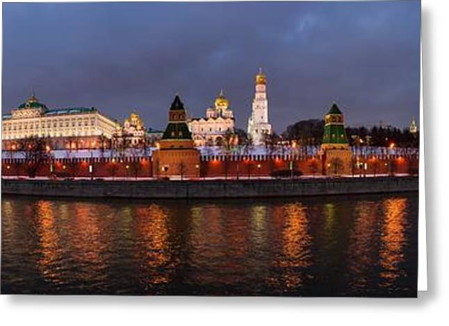 Winter Night Greeting Cards - Panoramic view of Moscow river and Moscow Kremlin in wintertime - Featured 3 Greeting Card by Alexander Senin