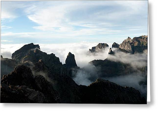 Nature Study Greeting Cards - Panoramic View Of Mountain Peaks Greeting Card by Xavier Gallego Morell