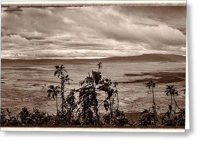 Black Lodge Greeting Cards - Panoramic View of Ngorongoro Crater Border Greeting Card by Darcy Michaelchuk